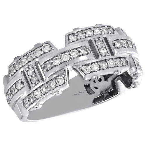 14K White Gold Round Diamond Mens Wedding Band Geometric Design Ring 0.93 CT.