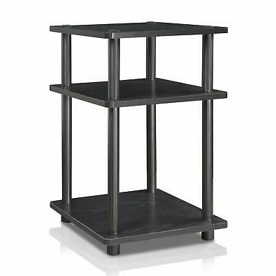 Black End Table Nightstand Bedside Side Storage Shelves Small Unit Easy Assembly (Black Storage End Table)
