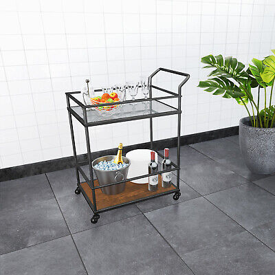 Kitchen Bar Serving Cart Kitchen Islands Rolling 2 Tier Tempered Glass And Metal