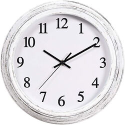 Silent Wall Clock 12 Vintage Non Ticking Quality Numeral Round Wall Clock White