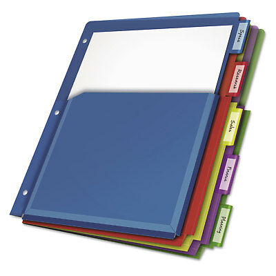 Cardinal Poly Expanding Pocket Index Dividers 5-Tab Letter Multicolor per Pack