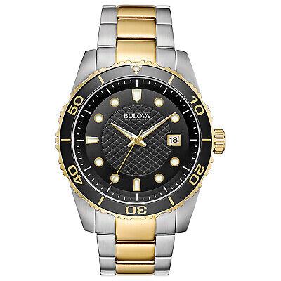 Bulova Men's Quartz Date Calendar Luminous Hands Black Dial 42 mm Watch 98A199