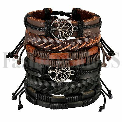6pcs Mix Wrap Leather Ethnic Tribal Beaded Men Women Cuff Wristband Bracelet Set