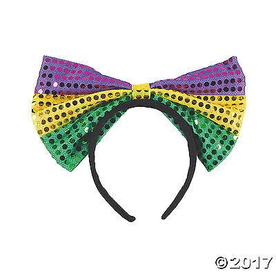 MARDI GRAS Fat Tuesday Parade Party Costume Accessory SEQUIN BOW Headband ](Mardi Gras Headband)