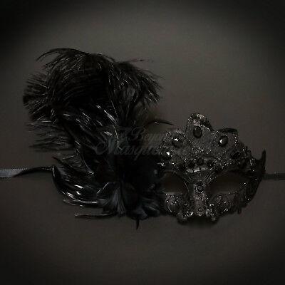 Mardi Gras Venetian Feather Masquerade Mask for Women Black M8337  - Black Feather Masquerade Mask