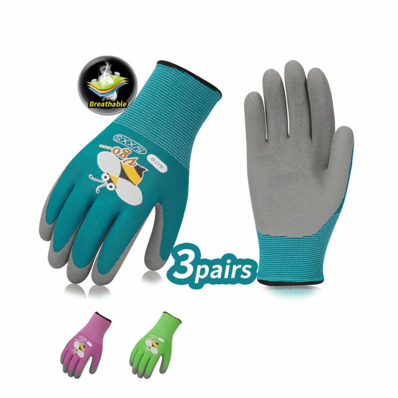 Vgo 3-Pairs Age 3-9 Kids Latex Gardening Gloves Work Gloves (KID-RB6013)