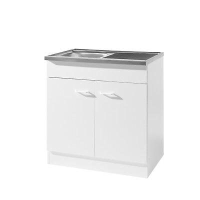 Küche Spüle Spülenschrank mit Siphon 80x50 Spülschrank weiss
