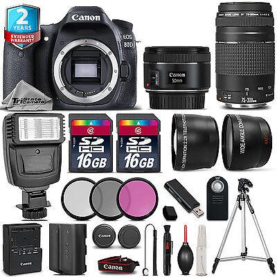 Canon EOS  80D Camera + 50mm + 75-300mm + 32GB + Flash + EXT BAT + 2yr Warranty