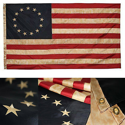 3x5 Embroidered Betsy Ross Vintage Flag (Premium Quality Polyester), 3' X 5'