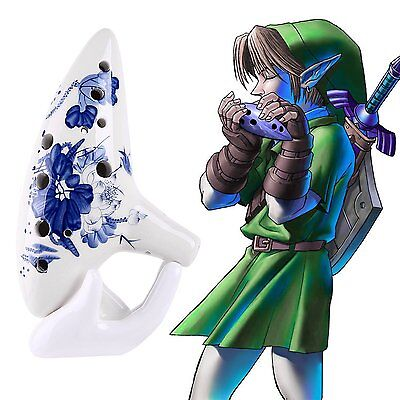Legend of Zelda Ocarina 12Hole Alto C with Textbook Display Stand Protective Bag
