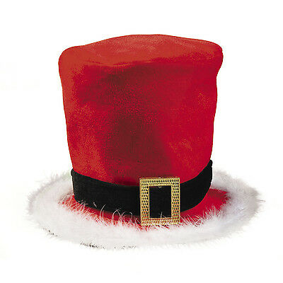 Christmas Halloween Costume Party Santa Top Hat Marabou Feather Trim Photo Prop