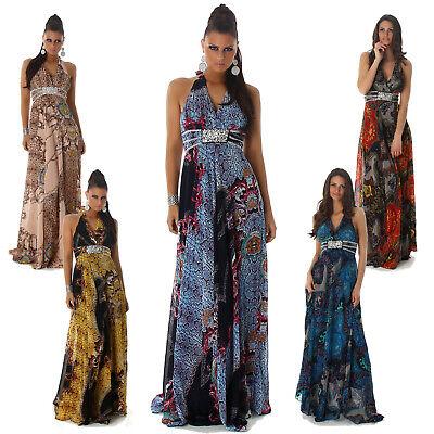 Neckholder-Maxikleid mit Strass & Pailletten lang Kleid Dress NEU Tanz Größe Neckholder-kleid