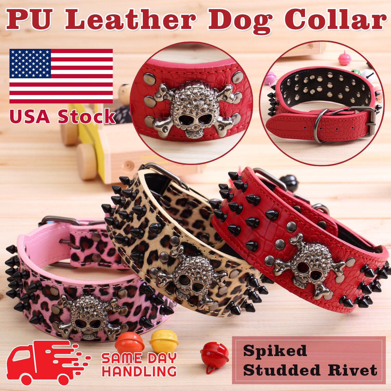 Skull Metal Studded Spiked Rivet Large Dog Collar  PU Leather Collar Shepherd Collars