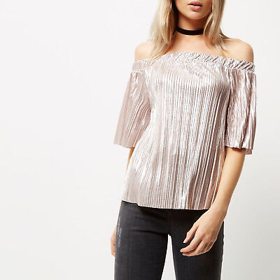 Ladies new Ex River Island Bardot top size 6 8 10 12 14 16