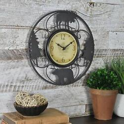 Cabin Pine Lodge Wildlife Round Metal Wall Clock, Brown/Black, Modern Rustic-NEW
