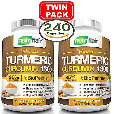 2X Turmeric Curcumin Root W  Bioperine   1300Mg  95  Curcuminoids  240 Caps