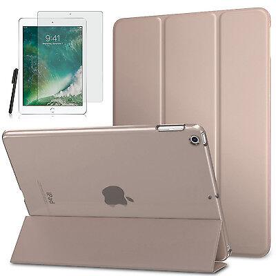 Smart Cover f. Apple iPad 9.7 2017/ 2018 New Kunstleder Schutzhülle+Folie Gold-3