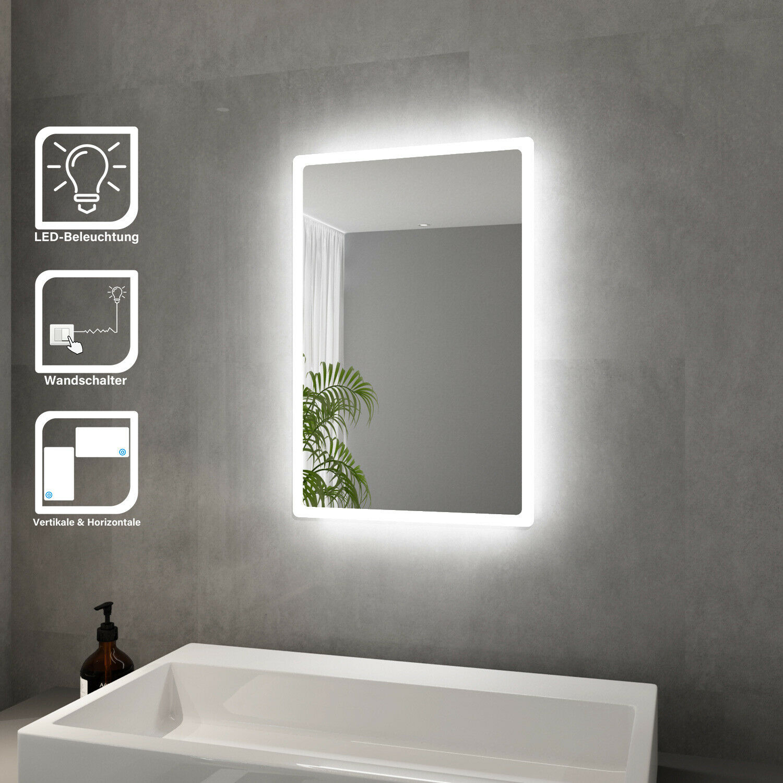 LED BAD Spiegel Badezimmer mit energiesparender LED-Beleuchtung Weiß 40x60cm