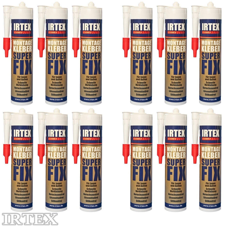 Montagekleber 12 x 310 ml Kartusche weiß Baukleber für Presspistole IRTEX