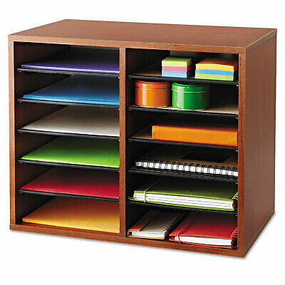 Safco Fiberboard Literature Sorter 12 Sections 19 58 X 11 78 X 16 18 Cherry