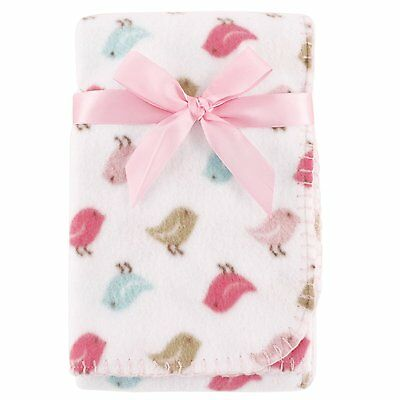 "LUVABLE FRIENDS BABY GIRLS PRINTED FLEECE BLANKET BIRDIES 30"" x 40""  NEW"