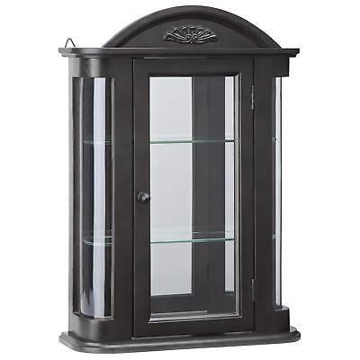 BN15222 - Rosedale Hardwood Wall Curio Cabinet - Ebony Black Finish