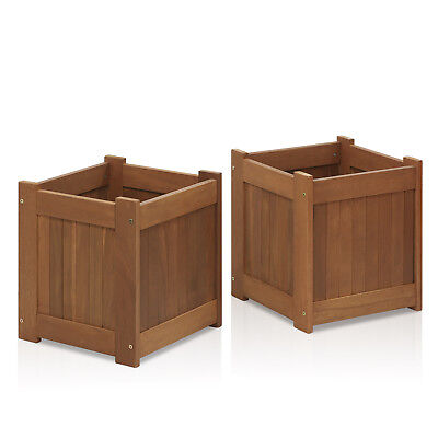- Tioman Hardwood Flower Box in Teak Oil, Pack of 2