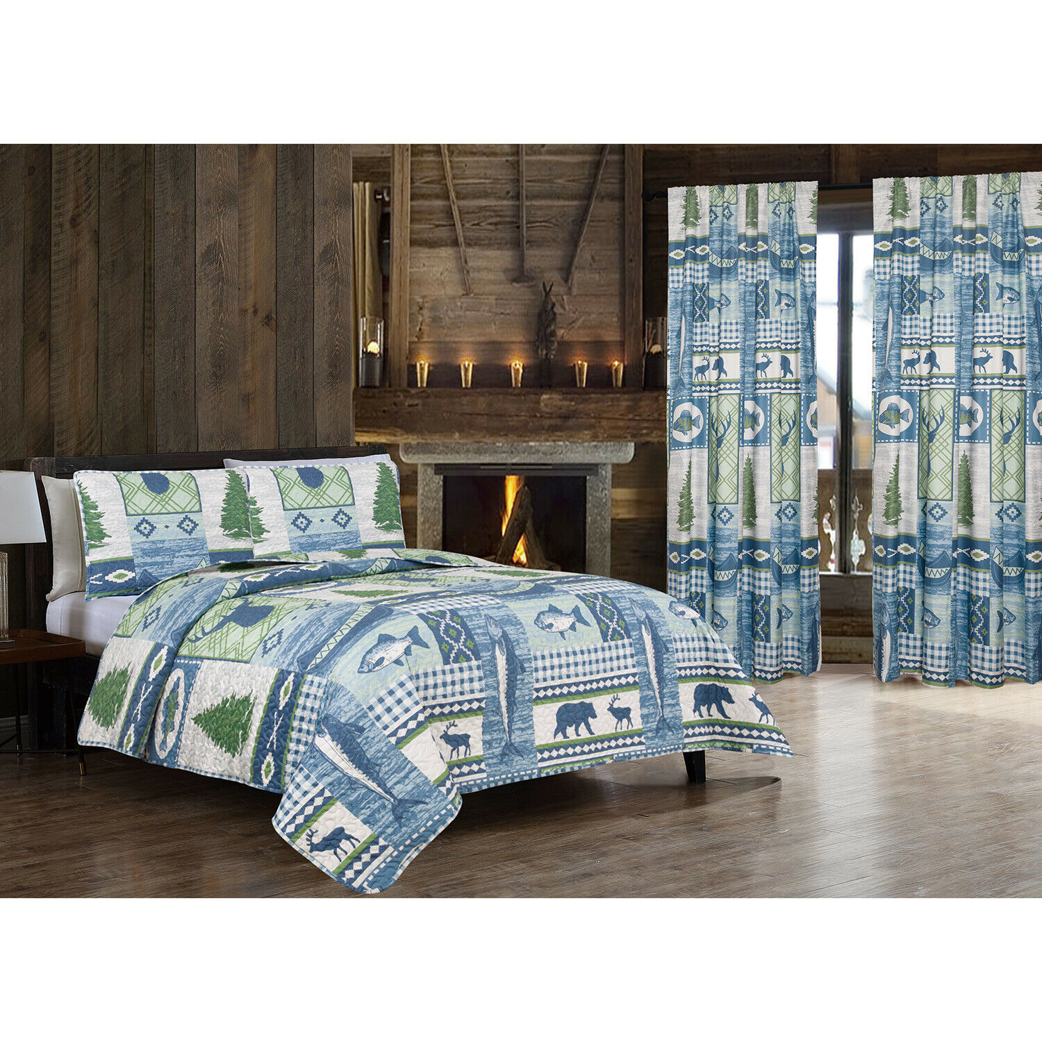 Twin, Full/Queen or King Lakeside Quilt Set or Curtains Deer Fish, Blue Green Bedding