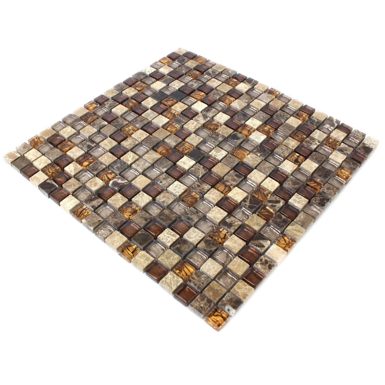 MUSTER Glas Naturstein Mosaik Fliesen Beige Braun 15x15x8mm • EUR 1,90 - PicClick DE