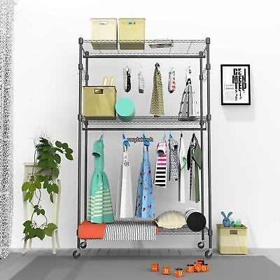 5 Types Shelving Clothes Garment Rack Rolling Shelf Heavy Duty Us Free Shipping