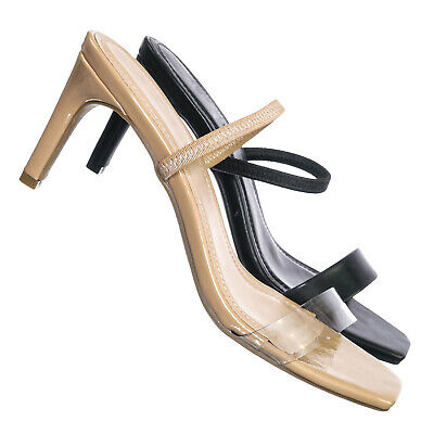 Always03 Clear Strap Square Open Toe Sandal - Women Mid Heel Slide In Slippers - Slipper Heels Shoes