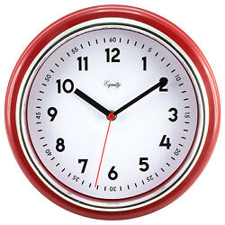 20867 Equity by La Crosse 11.5 Silent Sweep Retro Dial Analog Wall Clock - Red