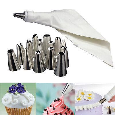 16 ICING PIPING CAKE CUPCAKE DECORATING COTTON BAG & NOZZLE SET SUGARCRAFT CUP