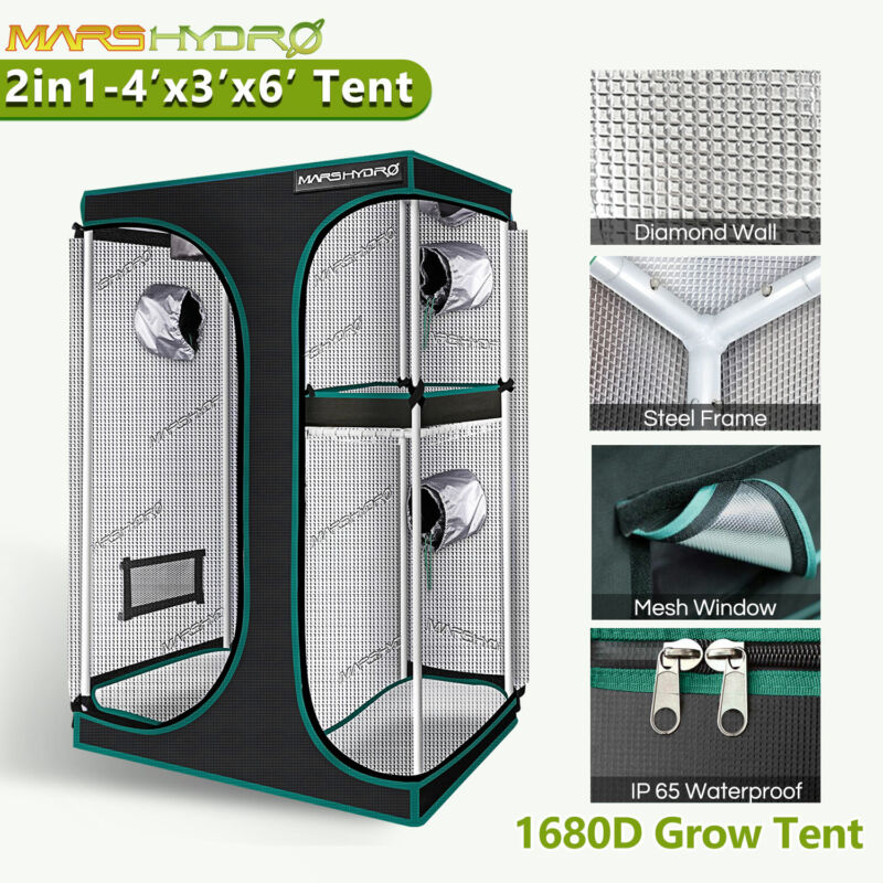 "Mars Hydro 2-in-1 48""x36""x70"" Indoor Grow Tent Reflective Room Box Greenhouse"