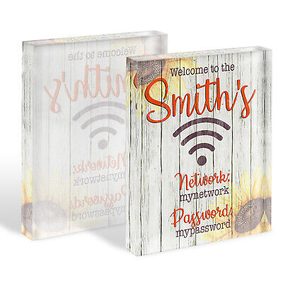 Wifi Password Internet Sign Glass Block House Warming Home Office Gift KGB08 ()