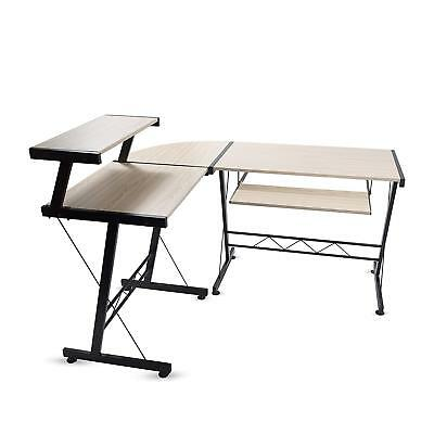 Modern Durable L Shape Computer Desk Workstation Great For Office Home Office