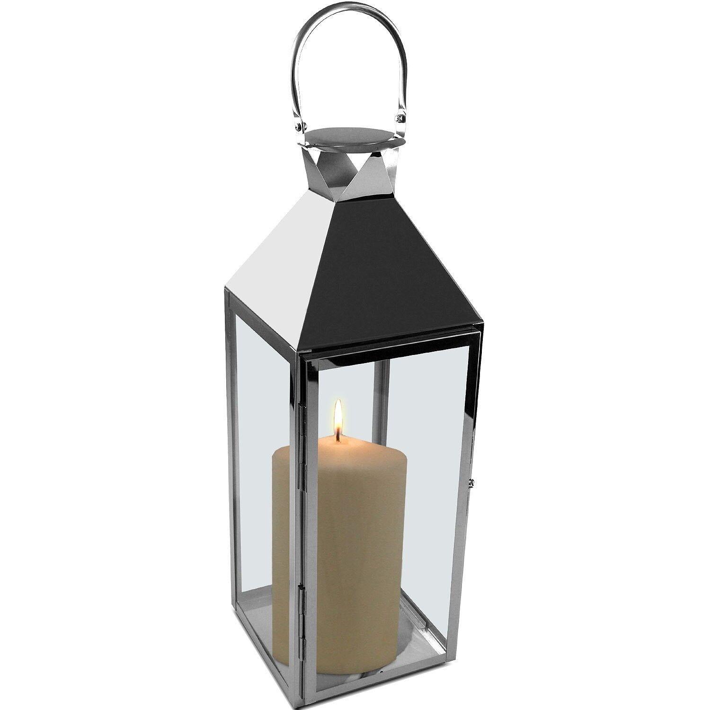 Edelstahl Laterne Windlicht Kerzenhalter Gartenlaterne Dekoration 18x18xH54cm