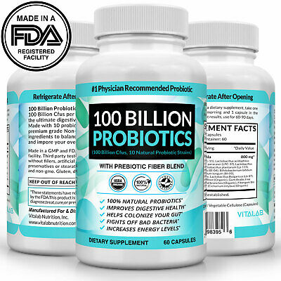 Probiotics 100 Billion CFU Potency Digestive Immune Health 60 Capsules