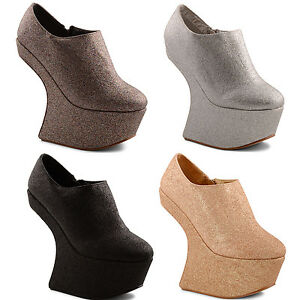 New-Ladies-Glittery-Heel-Less-Zip-Up-High-Platform-Shoe-Boots-Size-3-4-5-6-7-8
