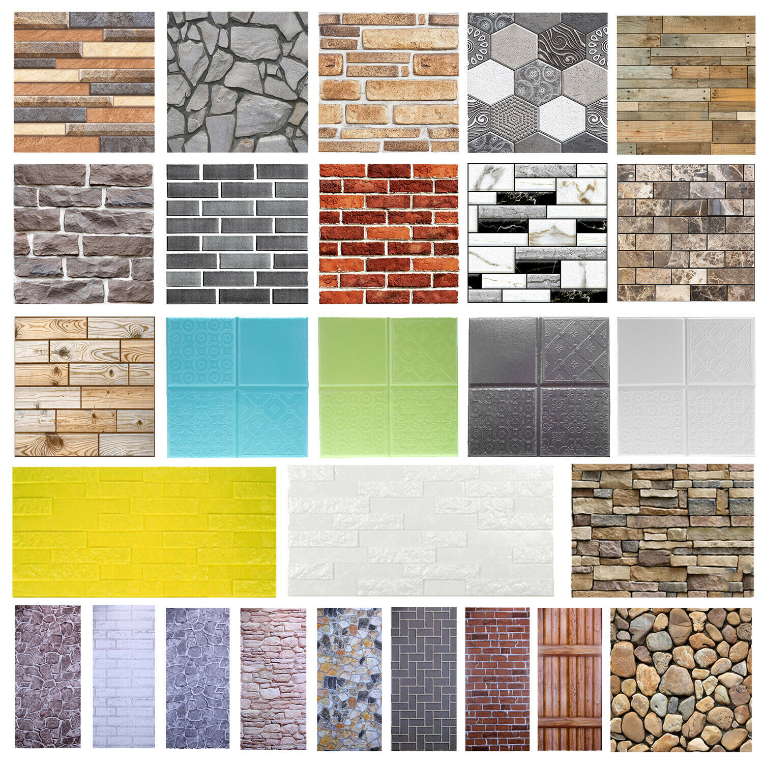 Home Decoration - 3D Wall Paper Brick Stone Rustic Effect Home Decor Self-adhesive Wall Sticker