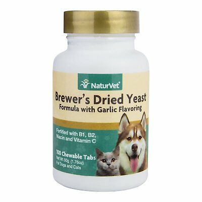 NaturVet Brewer Dried Yeast Formula Garlic Dog and Cat Vitamins 100 - Senior Formula 100 Tablets