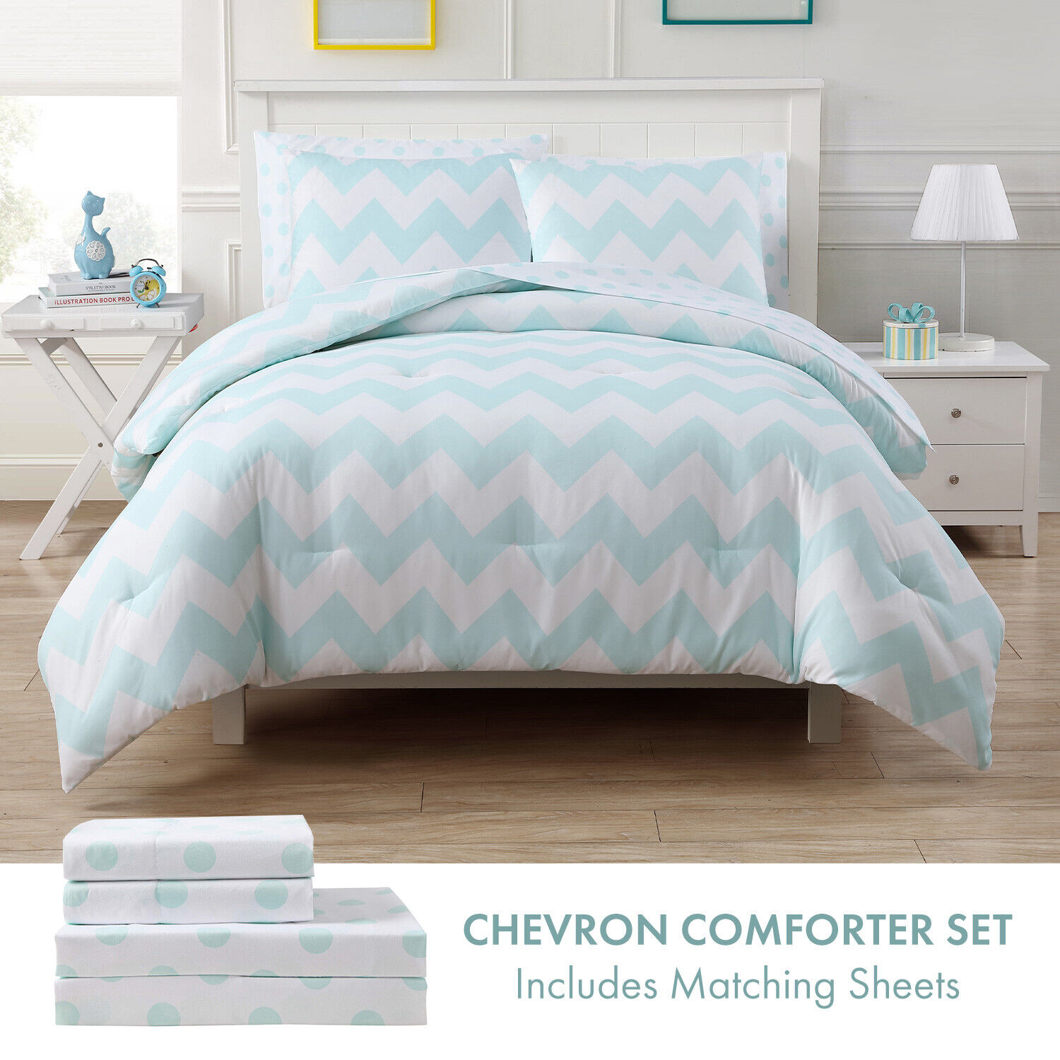 Twin or Full Chevron Bed in a Bag Comforter and Sheet Bedding Set, Aqua White Bedding