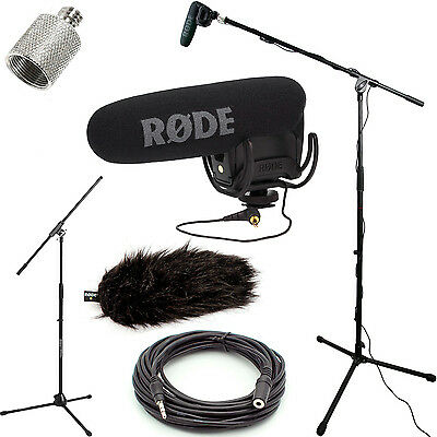 RODE VideoMic Pro Mic Studio Boom Kit - DeadCat, Boom Stand, Adapter, 25' Cable