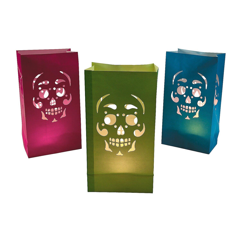 Day Of The Dead Paper Lanterns Skull Flower Cutouts Mardi Gras Halloween