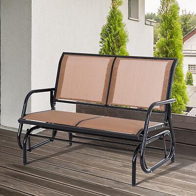 Outdoor Patio Glider Double Swing Chair Garden 2 Person Rocking Loveseat Steel