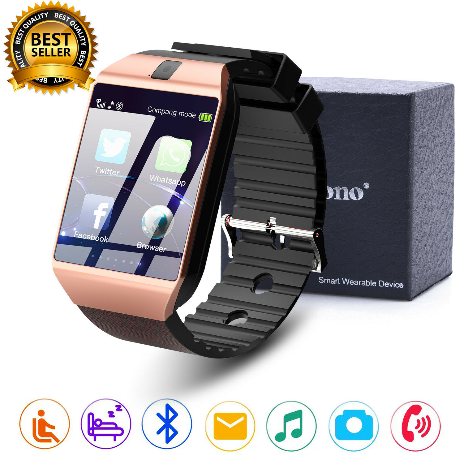 Bluetooth Smart Watch w/Camera Waterproof Phone Mate for Android Phones IOS DZ09