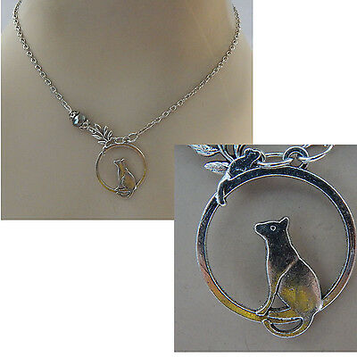 Silver Cat & Mouse Pendant Necklace Jewelry Handmade NEW Chain Adjustable