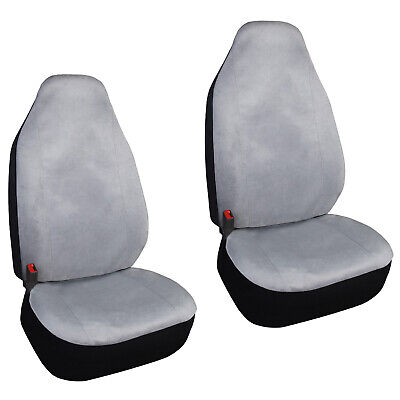 2 High Back Bucket Grey Seat Covers Universal Fit SUV Trucks Cars Front Seats ()