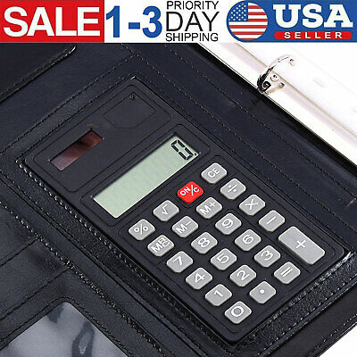 A4 Conference Folder Portfolio Faux Leather Zipped Organiser with Calculator USA