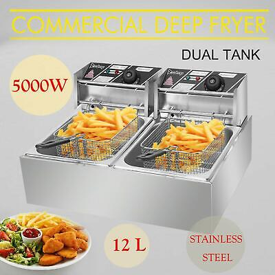 5000w 12lt Dual Tank Electric Deep Fryer Stainless Steel Commercial Basket